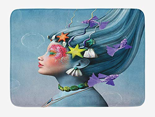 (ASKYE Mermaid Bath Mat, Woman with Underwater Themed Make Up Hairstyle Starfishes Seashells Fishes Bubbles, Plush Bathroom Decor Mat with Non Slip Backing, 23.6 W X 15.7 W Inches, Multicolor)
