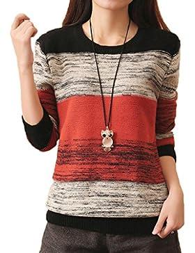 Minetom Mujer Otoño Casual Manga Larga Jerséis De Punto Tops Cuello Redondo Suéter Jersey Prendas De Punto
