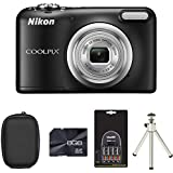 Nikon Coolpix A10 Digital Camera - Black + Case + 8GB Card + 2xAA Battery + Charger + Tripod (16.1MP, 5x Optical Zoom) 2.7 inch LCD
