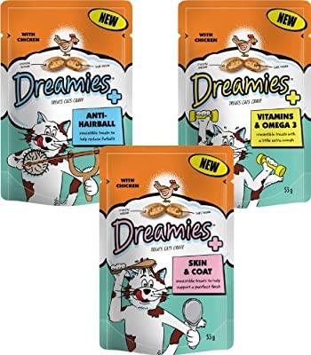 Dreamies Cat Treats New Care Range - 1 of each pack