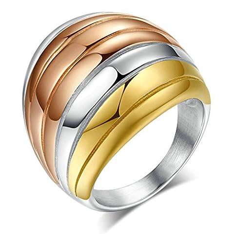 Epinki 6MM Acier Inoxydable Bague, Mariage Anneaux Pour Femme Homme Avec Zircon Cubique Taille 66.5