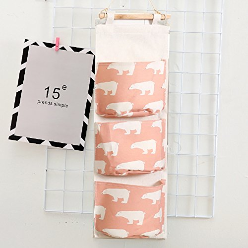 Ouken Door Closet Organizer Wall Hanging Storage with 3 Pockets Bag for Bedroom Bathroom (Polar Bear Pink) (Pink)