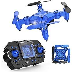 Drone giratorio DROCON Scouter para niños es un Quadcopter de bolsillo plegable con Modo de retención de altitud & Luz de búsqueda – 901H en Azul