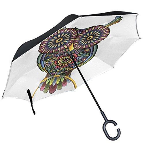 Alaza Colorful Floral Eule seitenverkehrt Double Layer winddicht Rückseite Regenschirm -