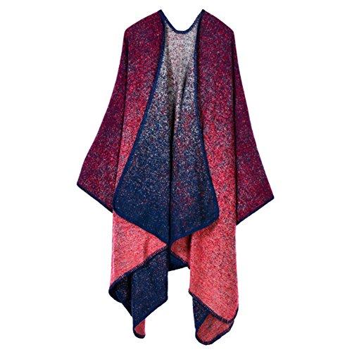 MUXILOVE Damen Poncho mit Rechteck Muster, Umhang, Überwurf Cape, Wendeponcho, Patchwork Design