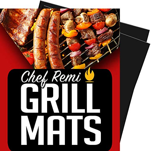 Chef Remi BBQ Grill Mats - Set of 2 Non-Stick Mats for Gas, Charcoal, Electric Barbecues and Baking Ovens - Reusable, Cut to Any Size, Easy to Clean, Dishwasher Safe - Lifetime Manufacturers Warranty