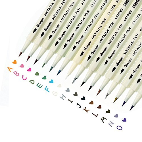 Tlcharger Pdf Metallic Marker Pens Set Of 15 Colors Calligraphy