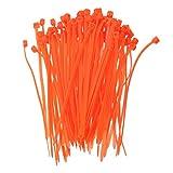 KINGDUO 100Pcs 3x100Mm Autobloquant Cable Plastique Zip Boucle des Liens Étroits Une Couleur en Nylon Cable Ties-Orange