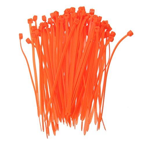 KINGDUO 100 Stück 3x100Mm Selbstverriegelnde Kunststoff-Kabel-Zip-Loop-Krawatten mit Einer Farbe Nylon-Kabel Krawatten-Orange - Reiten Krawatte