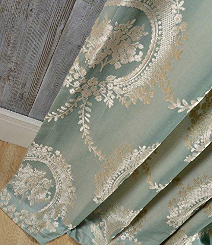 adaada 2er-Set Luxus vorhänge Europäische Jacquard vorhänge für Wohnzimmer (Blau, 245 * 140cm) - Wohnzimmer Blau Für Vorhänge