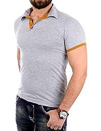 Reslad Poloshirt Herren Slim Fit T-Shirt Basic Kontrast Polo-Hemd Shirt tailliert RS-5099