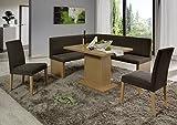 HOWE-Deko Eckbankgruppe, Buche Natur Dekor BZW. Buche naturfarbig massiv; Eckbank, 2 Stühle und Säulentisch, Bezug: beige-grau, variabel aufbaubar