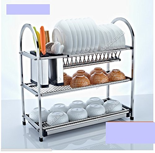 3 Tier Layers Stainless Steel Dish Plate Cutlery Crockery Rack Kitchen Organizer Drainer Holder Drip Tray