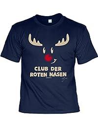 Weihnachten Weihnachtsshirt T-Shirt RENTIER RUDOLPH mit der roten Nase Weihnachtsmotiv bedruckt Advent Weihnachtszeit Nikolaus CLUB DER ROTEN NASEN in dunkelblau : )