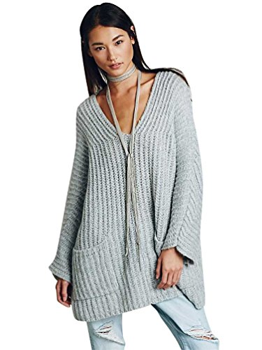 YOUJIA Oversize Pull col V en vrac Raglan manches Poche Pulls long Sweater Taille unique Gris Clair