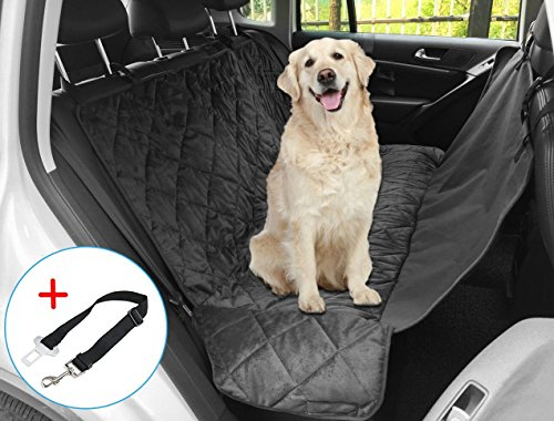 Dog Car Seat Cover, Auto Back Rear Seat Barrier 62″ x 43″, Quilted Waterproof Hammock Style Car Seat Cover for Dogs with Protector Pad Anti Slip for Rear SUV Trucks Cars with Bench or Bucket Car Seat Side Flaps (Black)
