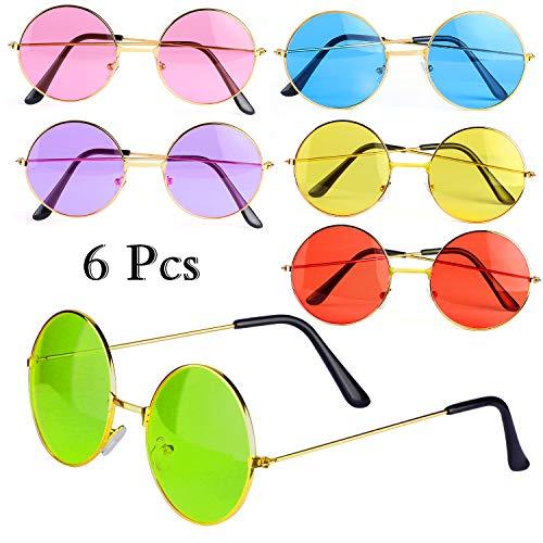 Lennon Kostüm John Sonnenbrille - Haichen Hippie Retro Sonnenbrille 60er Jahre John Lennon Style runde farbige Brille Kostümzubehör (D)