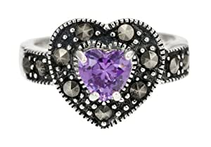 Ornami Silver Ladies' Marquesite and Amethyst Heart Ring - Size L