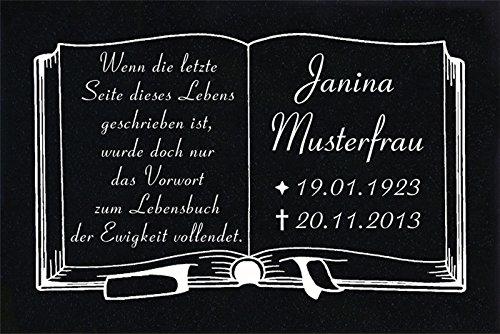 """GRANIT Grabstein, Grabplatte oder Grabschmuck mit dem Motiv """"Buch-g01"""" und Ihrem Text/Daten von LaserArt24"""