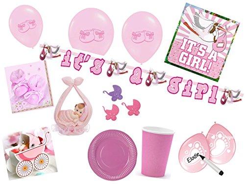 Partydekoset Babyparty Baby Shower Mädchen rosa für 70teilig Pullerparty Baby Geburt Babyparty Komplettset Tischdeko Party Geschirr