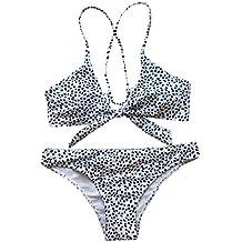Mymyguoe Bikini Sexy de Leopardo con Lazo Separado Bañadores de Mujer Traje de baño Biquinis Mujeres