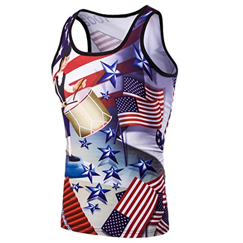 QIYUN.Z Stars And Stripes USA Flagge 4. Juli Druck Männer Kurzarm-Shirt Bluse Foto Farbe/1