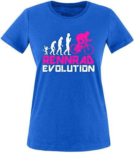 EZYshirt® Rennrad Evolution Damen Rundhals T-Shirt Royal/Weiss/Pink