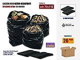 Sacchi Neri Resistenti Per Rifiuti, In Plastica Di Polietilene Pe-Ld Spessore 100 Micron, Cm 80x120, Scatola Da 20 Sacchetti. | Ok per uso sacco per scarti macerie, edilizia, calcinacci, giardinaggio.