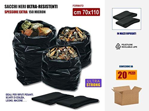 Sacchi Neri Resistenti Per Rifiuti, In Plastica Di Polietilene Pe-Ld Spessore 100 Micron, Cm 80x120, Scatola Da 20 Sacchetti.   Ok per uso sacco per scarti macerie, edilizia, calcinacci, giardinaggio.