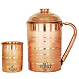 #2: Taluka Handmade Silver Touch Pure Copper Jug Pitcher Capacity 1700 ml with 1 Copper Glass Cup Water Storage Serving Drinking Water | Home Hotel Restaurant Tableware Drinkware