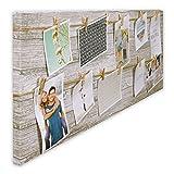 Bilderrahmen Fotorahmen Bilder Bilderhalter Fotoleine aus MDF für 12 Fotos mit Holz-Klammern zum Aufhängen inkl. Aufhängeset