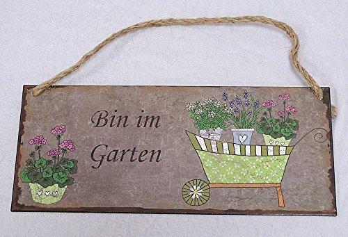 Nostalgie Blechschild, Bin im Garten, Garten Wandschild 13x31