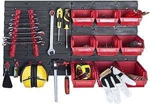 XL Werkzeugwand mit 2 Paneelen und üppigem Zubehörset bestehend aus 32 Haken und 9 Lagersichtboxen! Aus robustem Kunststoff ! Top