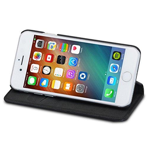 """Housse iPhone 6 / 6s Cuir Marron - KANVASA """"Pro"""" Coque Portefeuille en Vrai Cuir Haut de Gamme pour iPhone 6/6s d'Apple - Étui à Rabat Ultra Mince avec Fermeture Magnétique & Poche de Cartes Noir iPhone 7"""