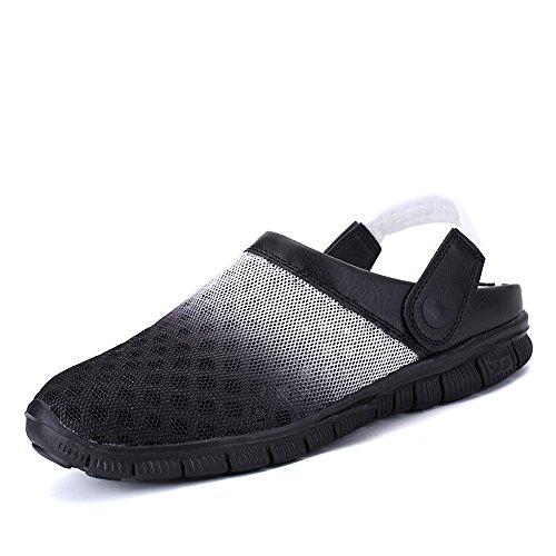 Bwiv chaussons légers pour homme et femme sabots de plage pantoufles avec bride des tailles 37-43 Noir et blanc