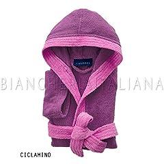 Idea Regalo - Caleffi Accappatoio Bambini Ragazzi puro cotone 100% dal peso di 400gr/mq, realizzata con filato doppio ritorto (Ciclamino, 6/8 anni)