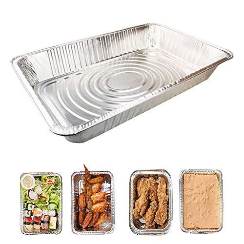 Einweg-Pfanne aus Aluminiumfolie, halbe Größe, mit Deckel, zum Backen, Grillen, Kochen, 53,3 x 33 x 5,1 cm, 10 Packungen 10 silber