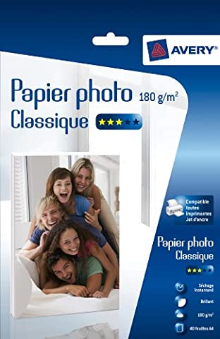 Avery 40 Feuilles de Papier Photo 180g/m² A4 - Impression Jet d'Encre - Brillant - Blanc (2741)
