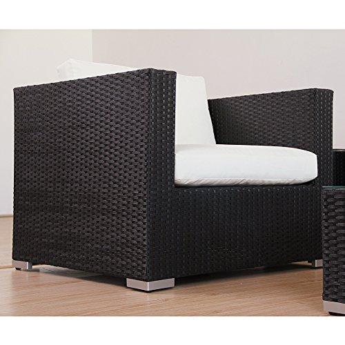 POLY RATTAN AZUR Lounge Gartenset SCHWARZ Sofa Garnitur Polyrattan Gartenmöbel - 3