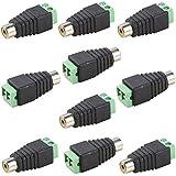 UHPPOTE Phono RCA Female Plug To AV Screw Terminal For CCTV AV Adapter Jack Balun (Pack Of 10)