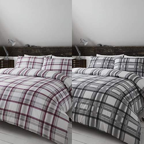 Set de fundas reversibles para edredón - Cuadros escoceses/rayas - Gris marengo - Extragrande «super king»