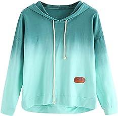 BaZhaHei Frauen Hoodie Gedruckt Patchwork Sweatshirt Langarm Pullover Tops Bluse Damen Kapuzenpullover Pullover Tops
