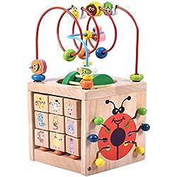 Actividad Cubo Laberinto de Cuentas Juguete-Acwenie 7 en 1 Centro de Juegos Madera Juguete Para los Cabritos y los Bebés, Incluyendo 7 Juegos en 1 Conjunto