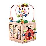 Aktivität Würfel Perle Labyrinth Spielzeug-Acwenie 7 in 1 Spielzentrum Holz Spielzeug Für Kinder und Babys,Einschließlich 7 Spieles in 1 Set