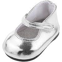1 Par Zapatos Color Plata Decoración para Muñecas Niñas Americanas Moda