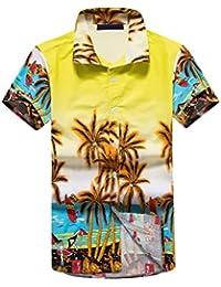 Camisas Hombre Verano Familia Hawaiana Camiseta Impresión Floral Moda Anchas Casual Playa Manga Corta Padres E Hijos Camisa
