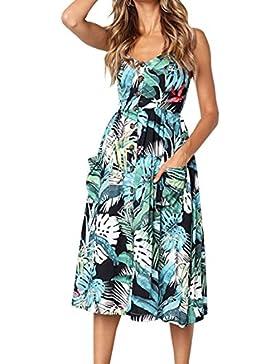 Elevesee verano de las mujeres bohemios espaguetis correa botón de impresión floral vestido MIDI con bolsillos
