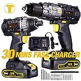 Taladro Atornillador, TECCPO Atornillador Impacto 180Nm, 30min Cargador Rapido, 35 Accesorios Gratis, 2 Baterias 2.0Ah, 2 Velocidades, Taladro, (Ahorra 20€ con code: B65V7S78)