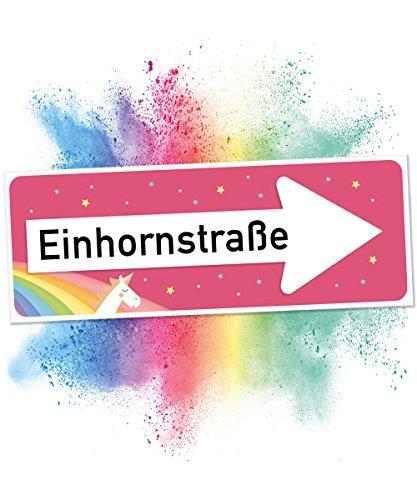 Preisvergleich Produktbild Einhhorn Schild - Einhornstraße RECHTS, Süße Wand-Deko, Türschild für Mädels-Wohnung und Mädchen-Zimmer, Geschenkidee Einweihungsparty und Geburtstags-Geschenk, Lustige Überraschung - beste Freundin
