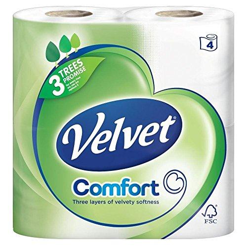 Preisvergleich Produktbild Velvet lagig Weiß Toilettenpapier - 200 Blatt pro Rolle (4) - Packung mit 6